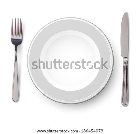 Empty plate with knife and fork on a white background