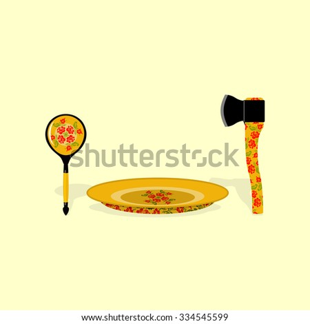 Empty plate with Russian national pattern. Cutlery: wooden spoon and axe. Traditional tableware in Russia. - stock vector