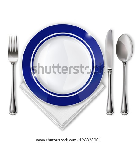 Empty plate with spoon, knife and fork on a white background. Mesh.  - stock vector