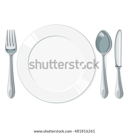 Empty plate with spoon, knife and fork on a white background. Vector illustration