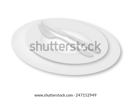 Empty plates with flatware - fork and knife set - vector - stock vector
