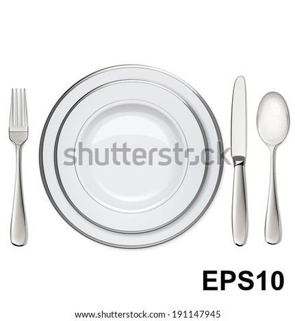 Empty plates with silver rims, spoon, fork, knife isolated on white. Vector illustration - stock vector