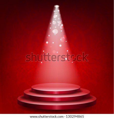 Empty podium illuminated lights on red grunge background - stock vector