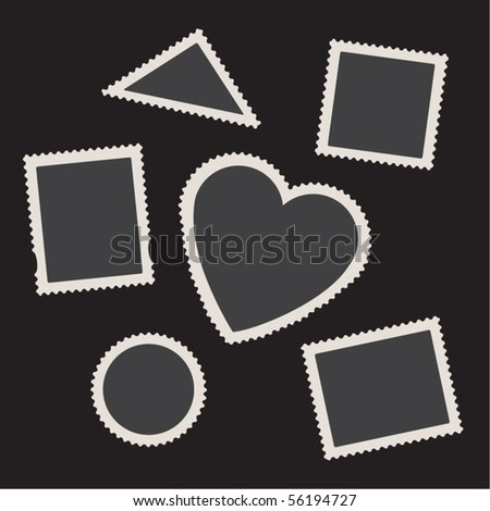Empty postage stamps vector set on black. Real and creative forms. - stock vector