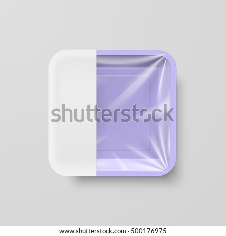 Empty Purple Plastic Food Square Container with White label