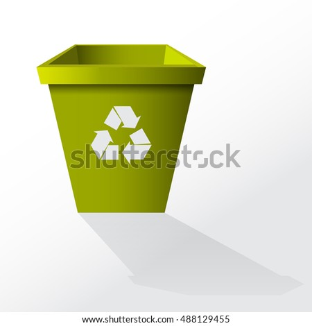 Empty recycle bin isolated on white background. Vector illustration.