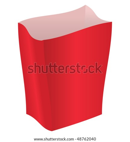 Empty red package on a white background - stock vector