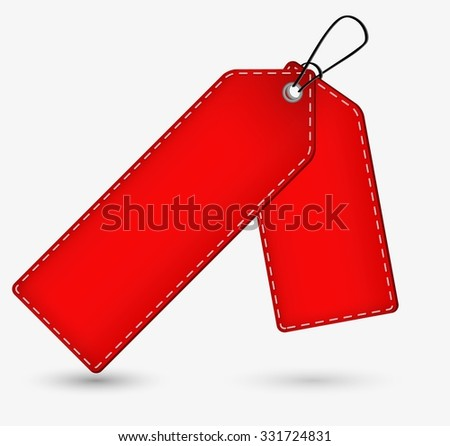 empty red price tag with shadow on gray background