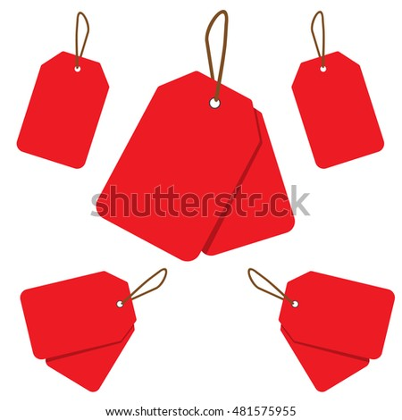Empty red sale price tag collection. Sale tags set. Vector illustration.