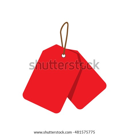 Empty red sale price tags set. Sale tag. Vector illustration.