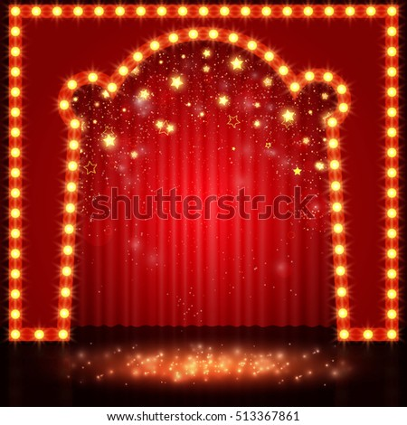 Empty retro stage with red curtain. Vector illustration