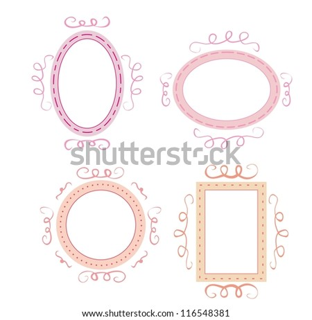Empty retro vector frames set. Cute pink, orange and violet whimsy hand drawn design elements for picture or text on website, wedding invitation, valentines or baby shower card - stock vector
