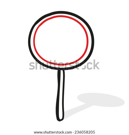 Empty road sign. The movement is forbidden. A children's sketch - stock vector