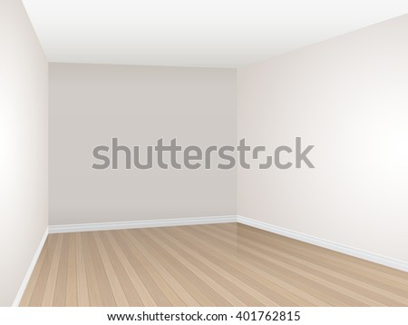 Empty room with parquet floor and beige wall. Vector interior template. - stock vector