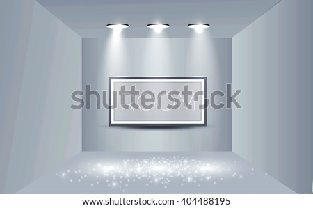 Empty Room with Shining Spotlights & Frame on the Wall. Exhibition Design. Vector illustration