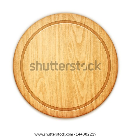 empty round cutting board on white background - stock vector