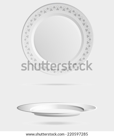 empty, round, plate,  isolated, clean, object, circle, dinner - stock vector