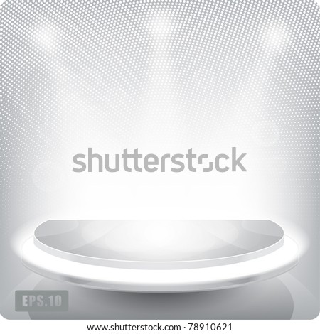 Empty round shelf for exhibition. Backlit.3d.Eps10. - stock vector