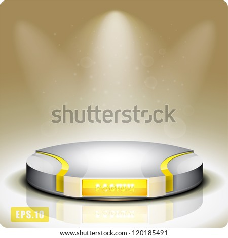 Empty round shelf for exhibition. Backlit. Gold. 3d.Eps10. - stock vector