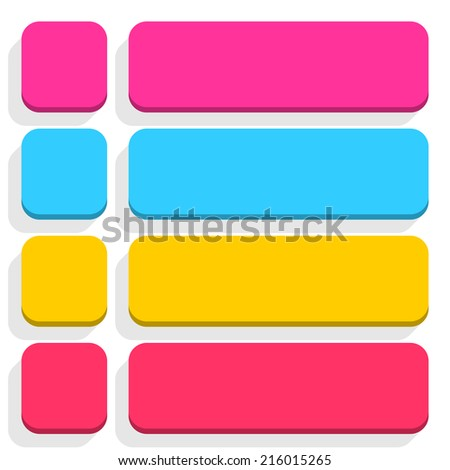 Empty rounded square and rectangle icon with gray long shadow on white background in simple flat style. Set 03 pink, blue, yellow, magenta colors button. Vector illustration web design element 8 eps - stock vector