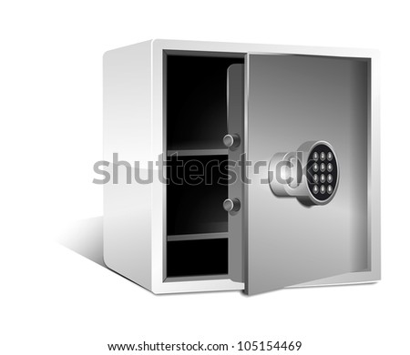 Empty safe with Safe Lock Set . Vector - stock vector