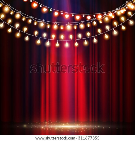 Empty scene with stage curtain & light garland. Vector illustration - stock vector