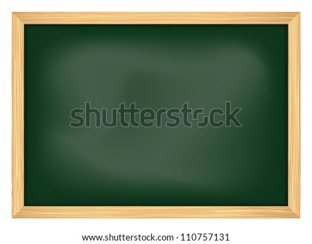 empty school chalkboard with frame, vector illustration - stock vector