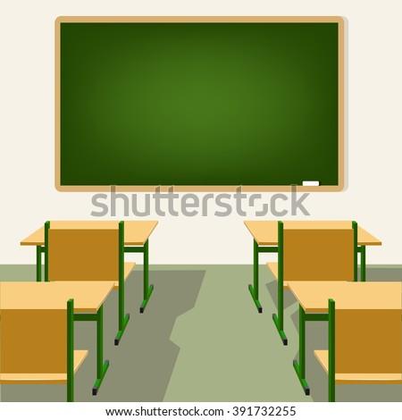 empty school classroom with blackboard and desks - stock vector