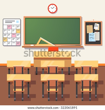 Empty school classroom with green chalkboard, teachers desk, pupils tables and chairs. Flat style vector illustration isolated on white background. - stock vector