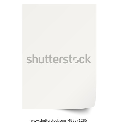empty sheet of white paper with turned over corner