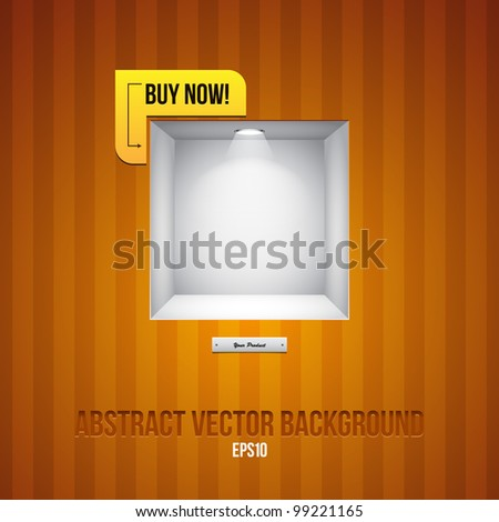 Empty Shelf For Exhibit In The Striped Wall Orange Yellow With Label Buy Now! - stock vector