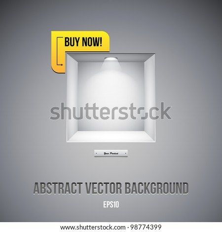 Empty Shelf For Exhibit In The Wall Grayscale Gray With Label Buy Now! - stock vector