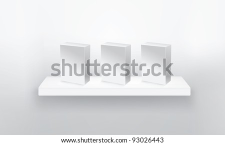 empty shelf for exhibit with three box. Vector illustration. - stock vector