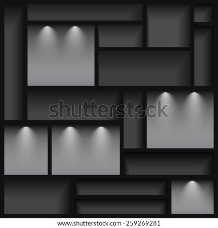 Empty shelves  illuminated with reflector light, gray colored, vector illustration, 10eps