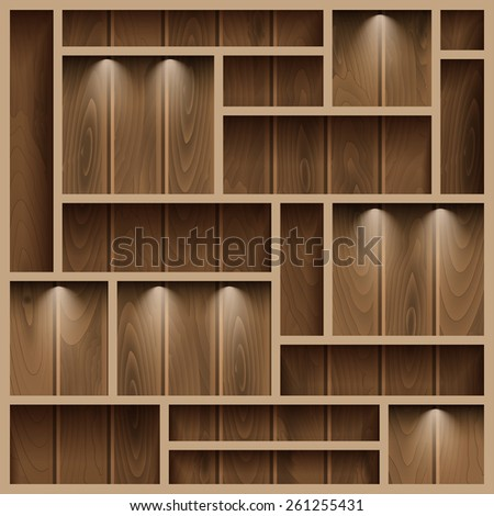 Empty shelves on the wooden wall,  illuminated with reflector light, vector illustration