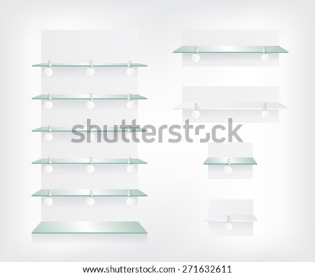 Empty shop glass shelves and wobbler - stock vector