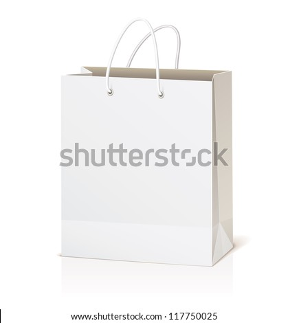 Empty shopping bag isolated on white background, vector illustration - stock vector