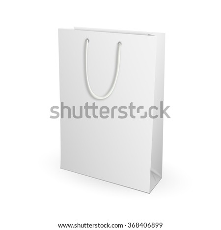 Empty Shopping Bag on white for advertising and branding. Isolated on White Background. Mock Up Template Ready For Your Design. Product Packing Vector illustration.