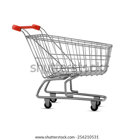 Empty shopping cart, side view, isolated on white background - stock vector