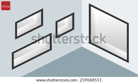 Empty showcase and shelf in the wall - stock vector