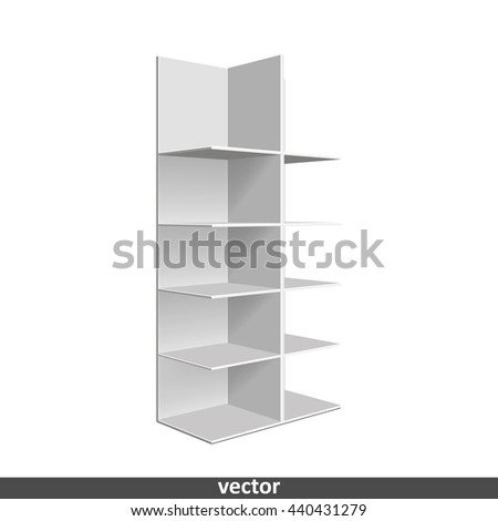 Empty showcase. Illustration isolated on white background. Graphic concept for your design
