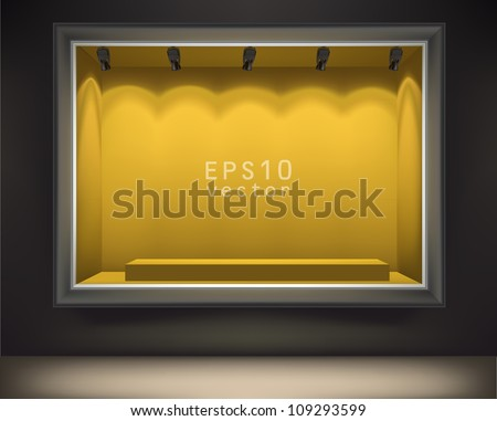 Empty showcase of a shop in the evening light vector - stock vector