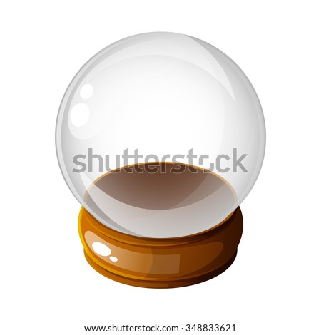 Empty snow globe. Snow globe vector winter transparent background toy. Magic ball