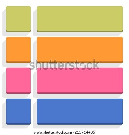 Empty square and rounded rectangle icon with long gray shadow on white background in simple flat style. Set 04 green, orange, pink, cobalt colors button. Vector illustration web design element 8 eps