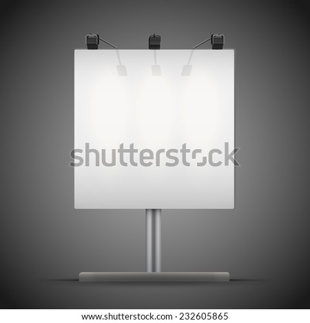 Empty square mockup billboard with spotlights and illuminated at night. Vector Illustration isolated on background. - stock vector