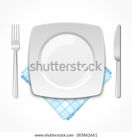 Empty square plate with fork, knife and napkin - stock vector