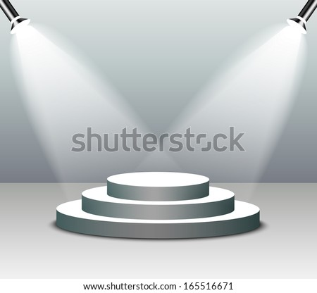 Empty stage in spot lights  - stock vector