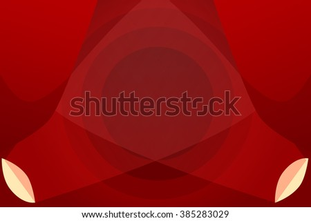 Empty Stage. Red curtains and searchlights vector illustration - stock vector
