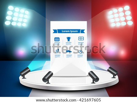 Empty stage studio on soccer field with France flag background, Vector illustration layout template design - stock vector