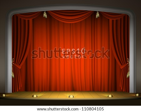 Empty stage with red curtain in expectation of performance EPS 10 - stock vector